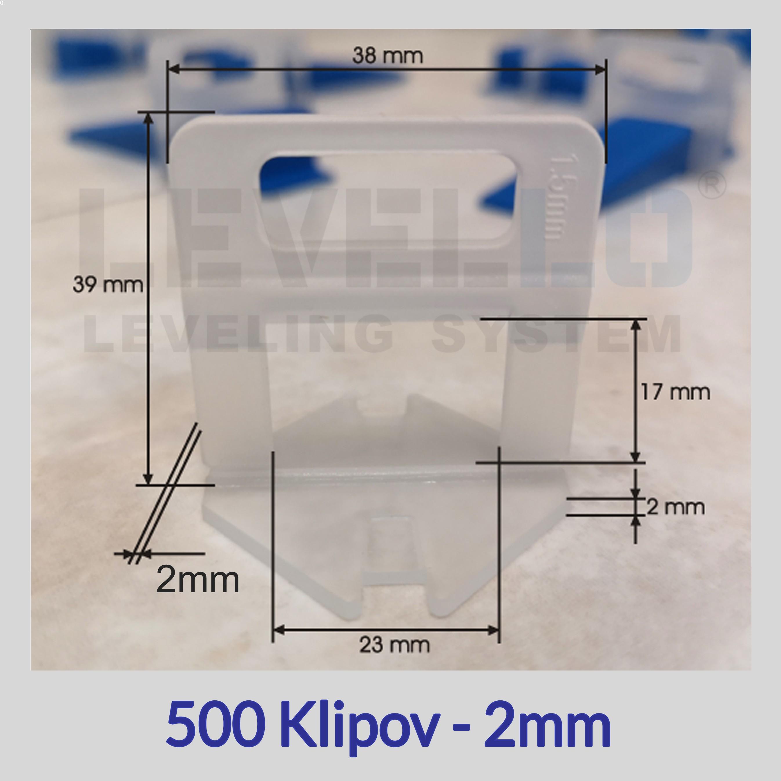 Klipy Eko LEVELLO ® 2 mm, 500 kusov
