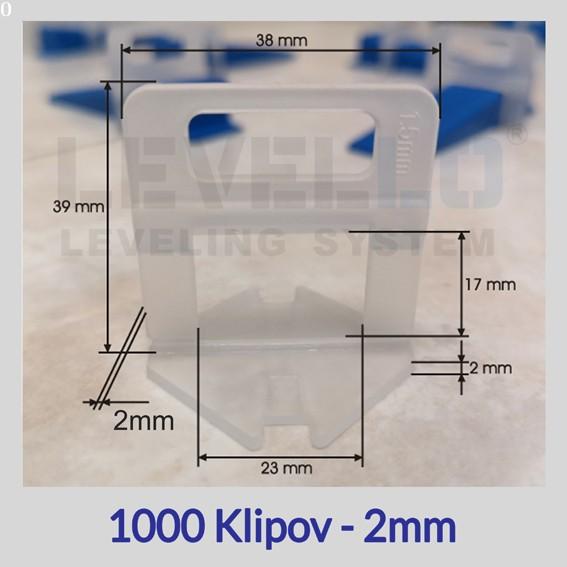 Nivelačné klipy Eko 2 mm, 1000 kusov