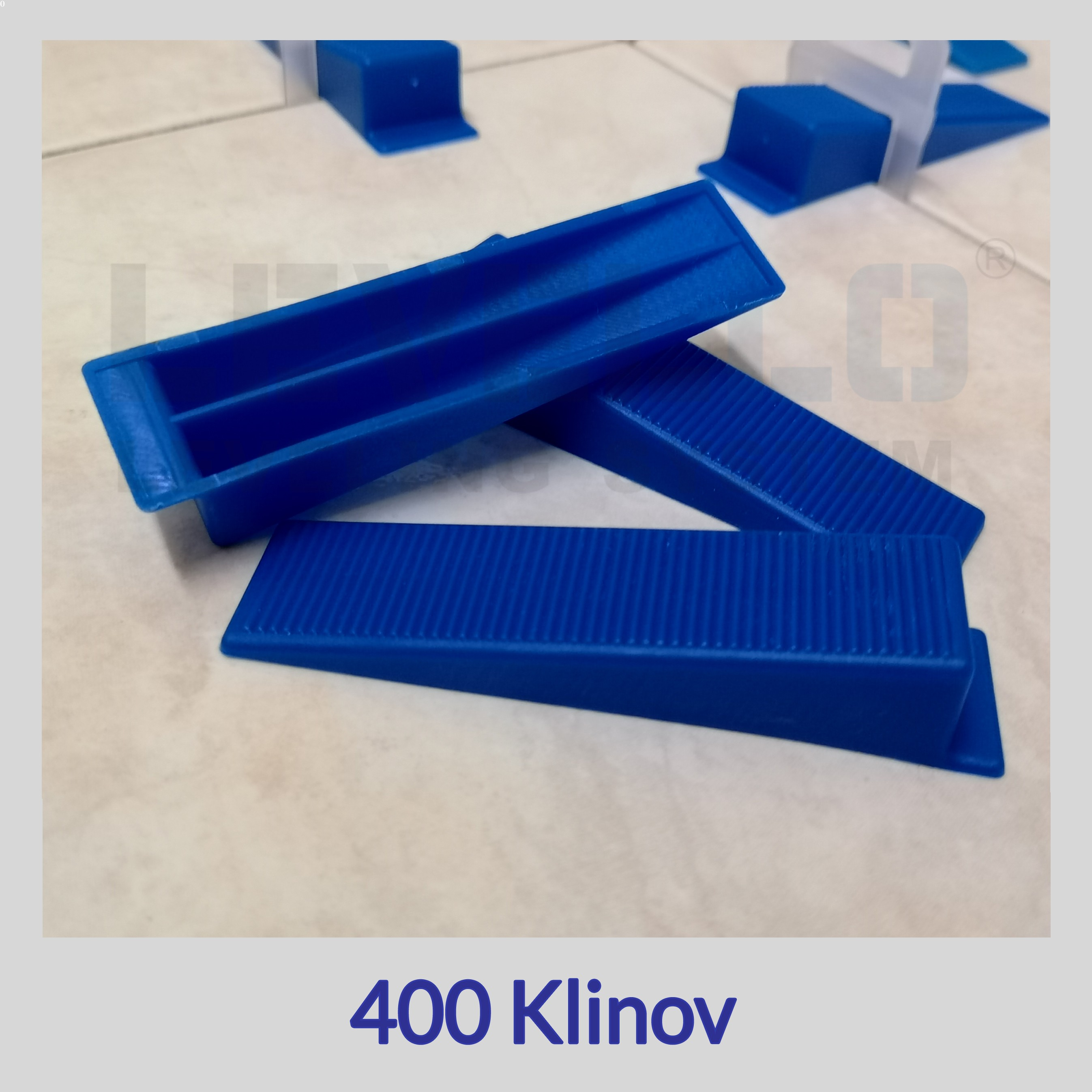 Nivelačné kliny modré, 400 kusov