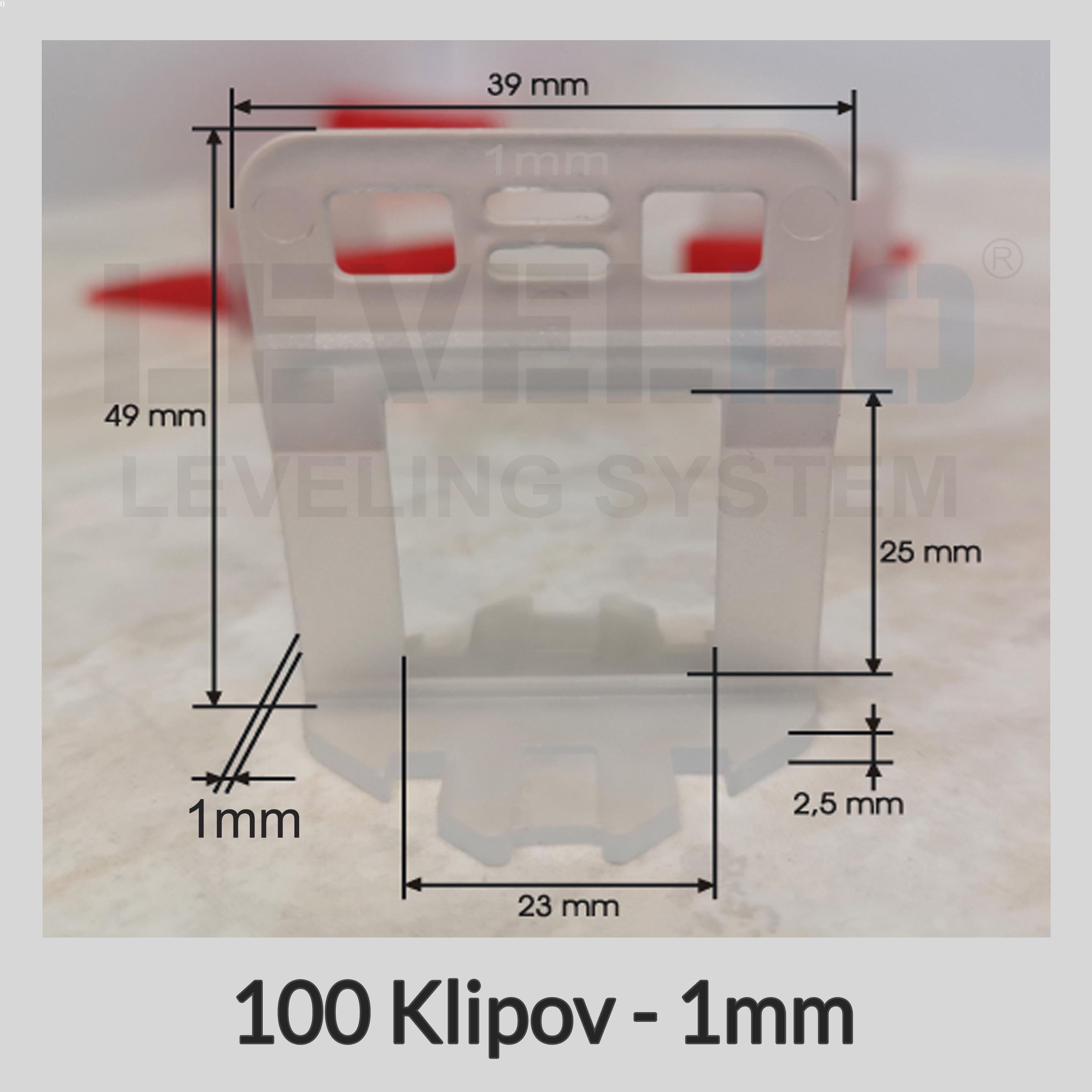 Nivelačné klipy Dlhé 1 mm, 100 kusov