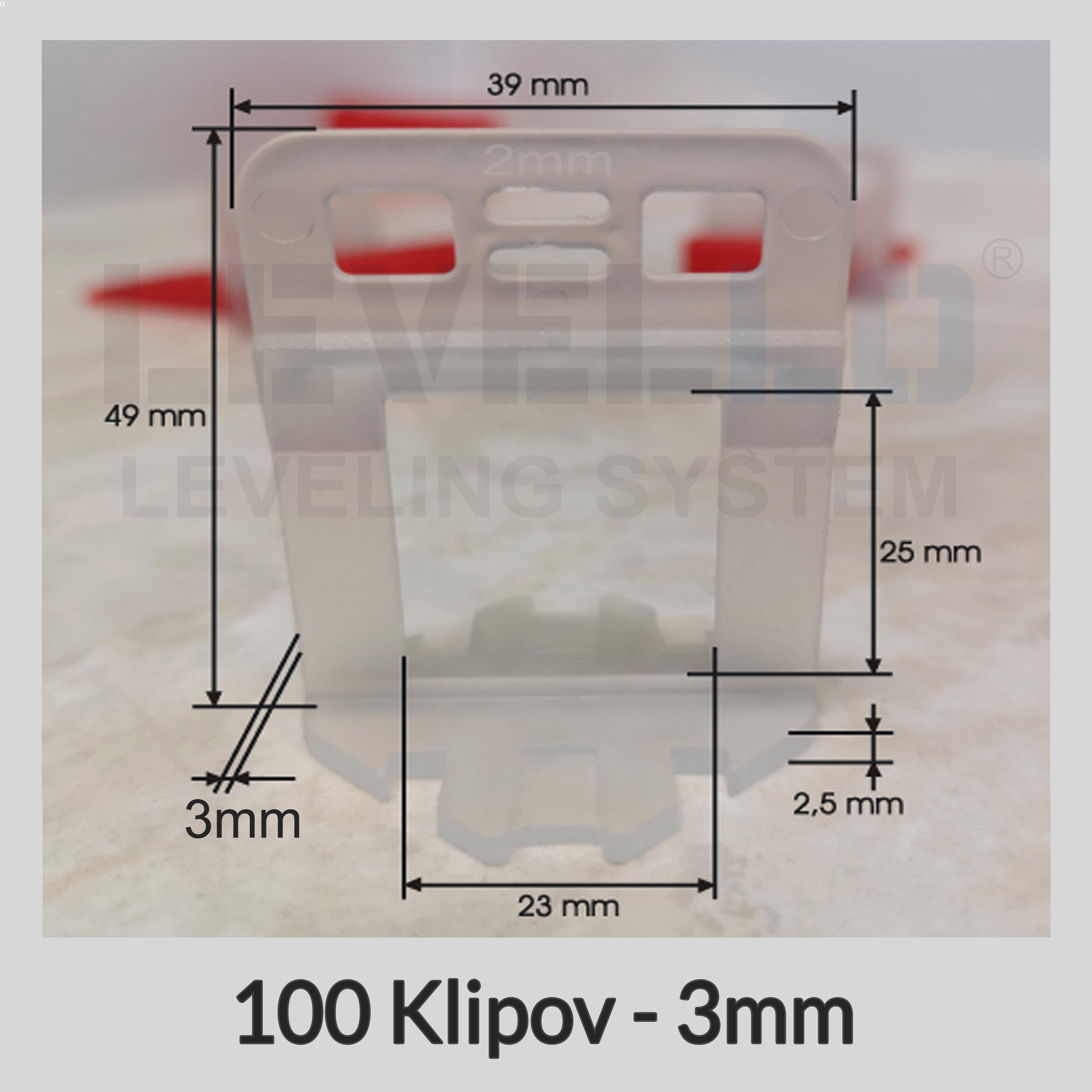Nivelačné klipy Dlhé 3 mm, 100 kusov