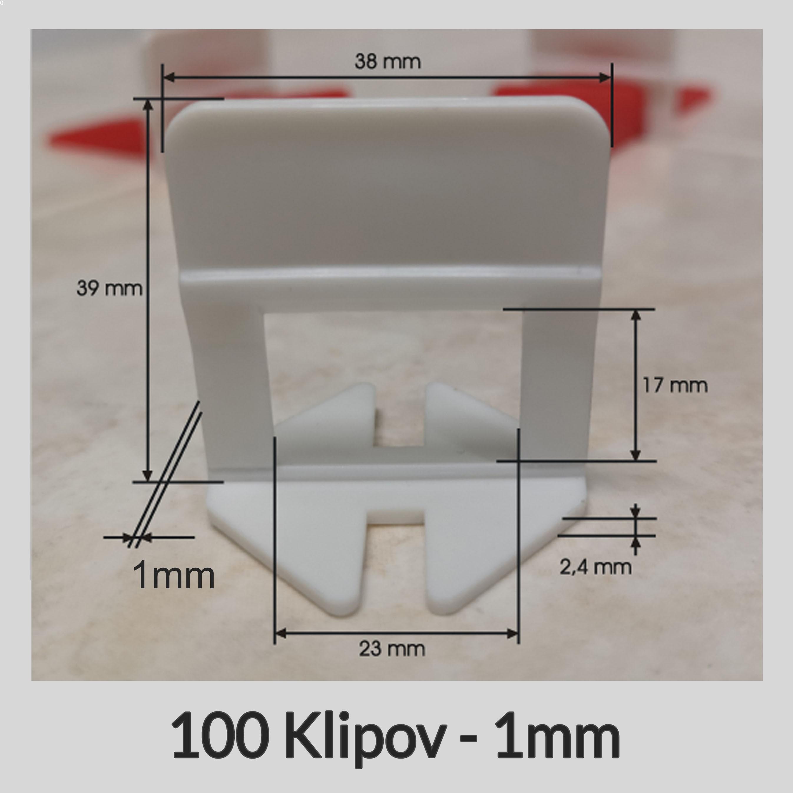 Nivelačné klipy Klasik B 1mm, 100 kusov