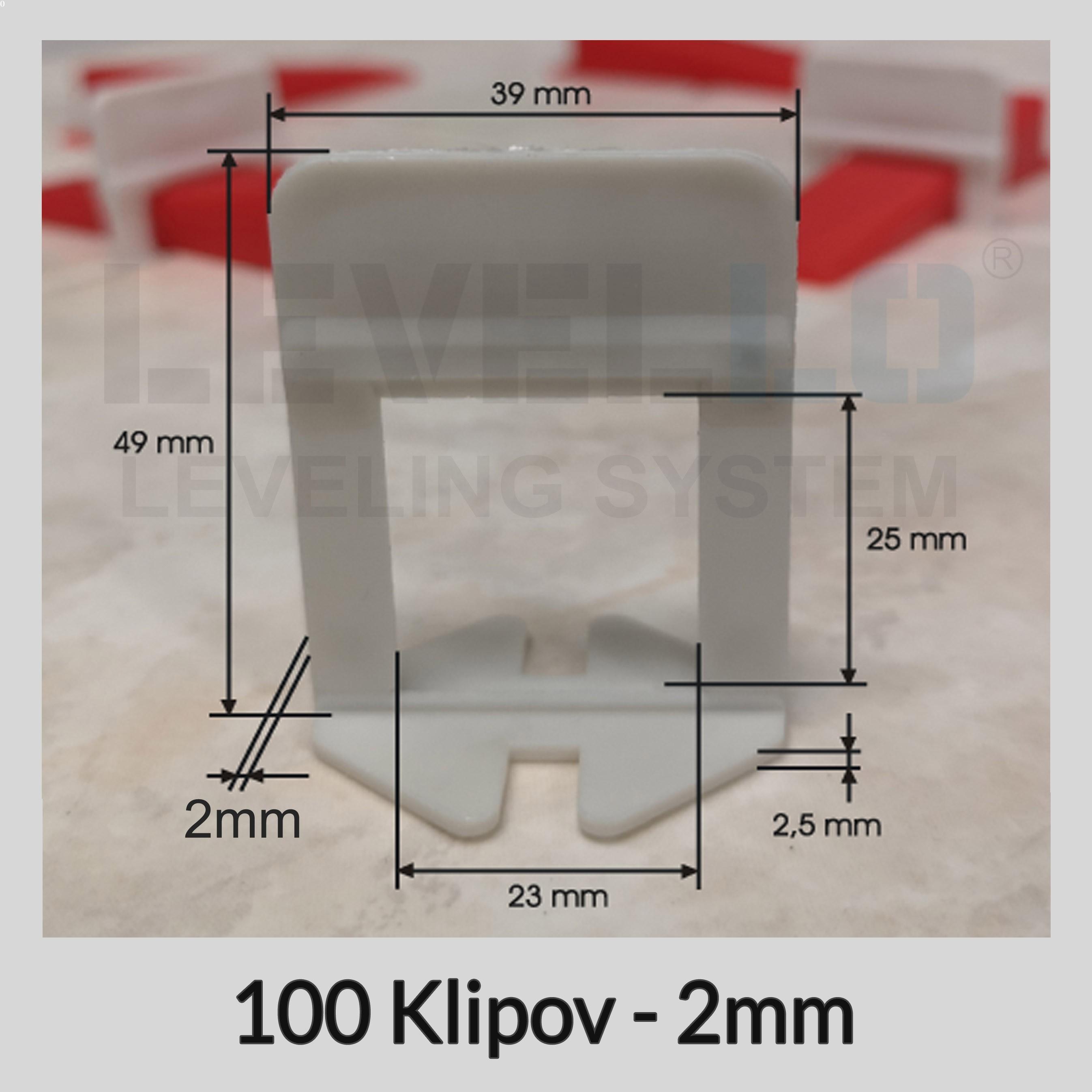 Nivelačné klipy Dlhé B 2 mm, 100 kusov