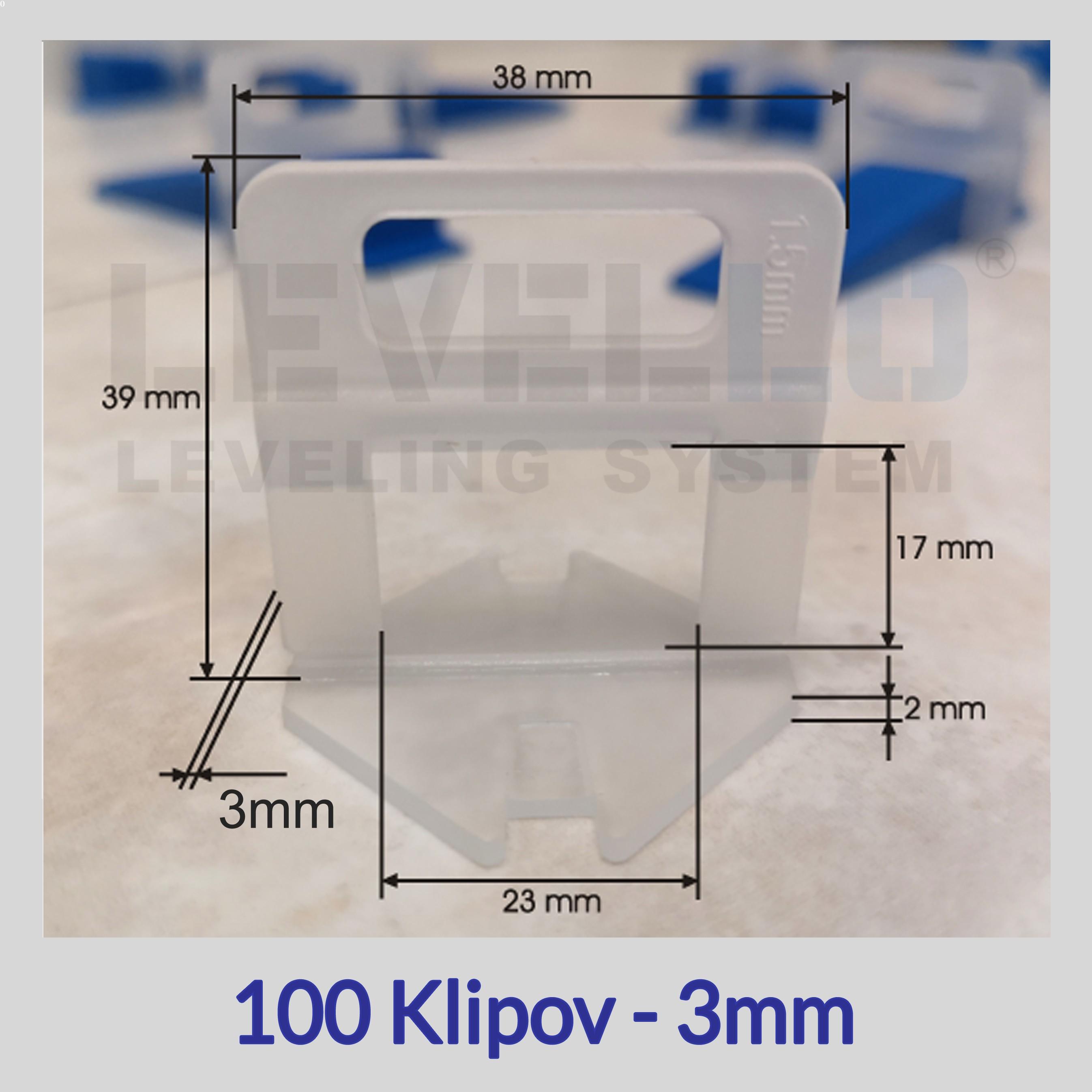 Klipy Eko LEVELLO ® 3 mm, 100 kusov