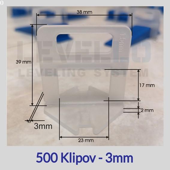 Nivelačné klipy Eko 3 mm, 500 kusov