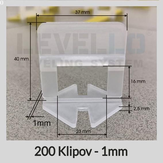 Nivelačné klipy Klasik 1 mm, 200 kusov