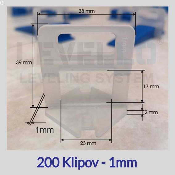 Nivelačné klipy Eko 1 mm, 200 kusov