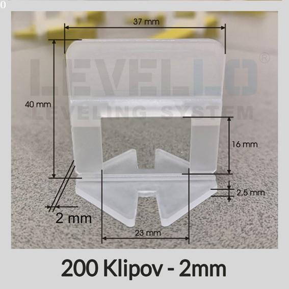 Nivelačné klipy Klasik 2 mm, 200 kusov