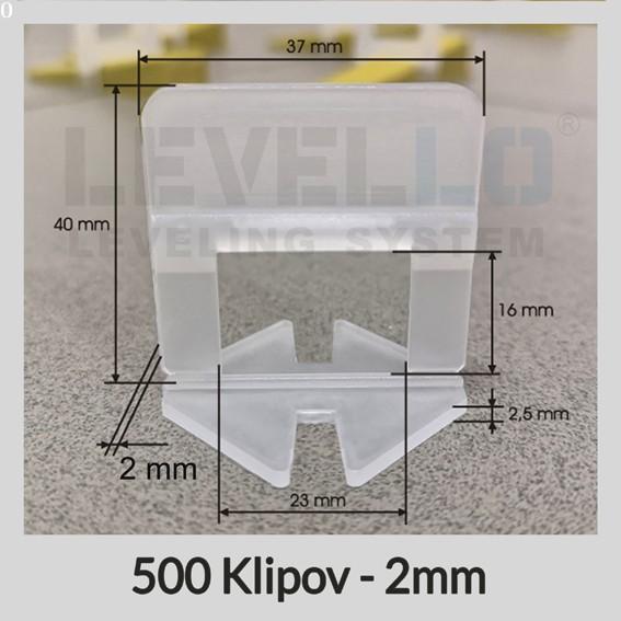 Nivelačné klipy Klasik 2 mm, 500 kusov