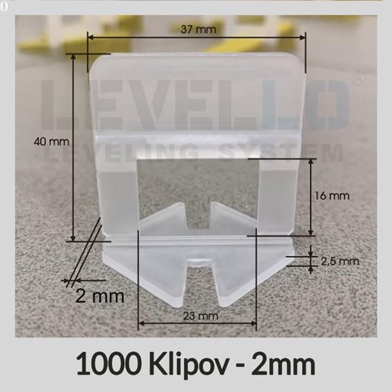 Nivelačné klipy Klasik 2 mm, 1000 kusov