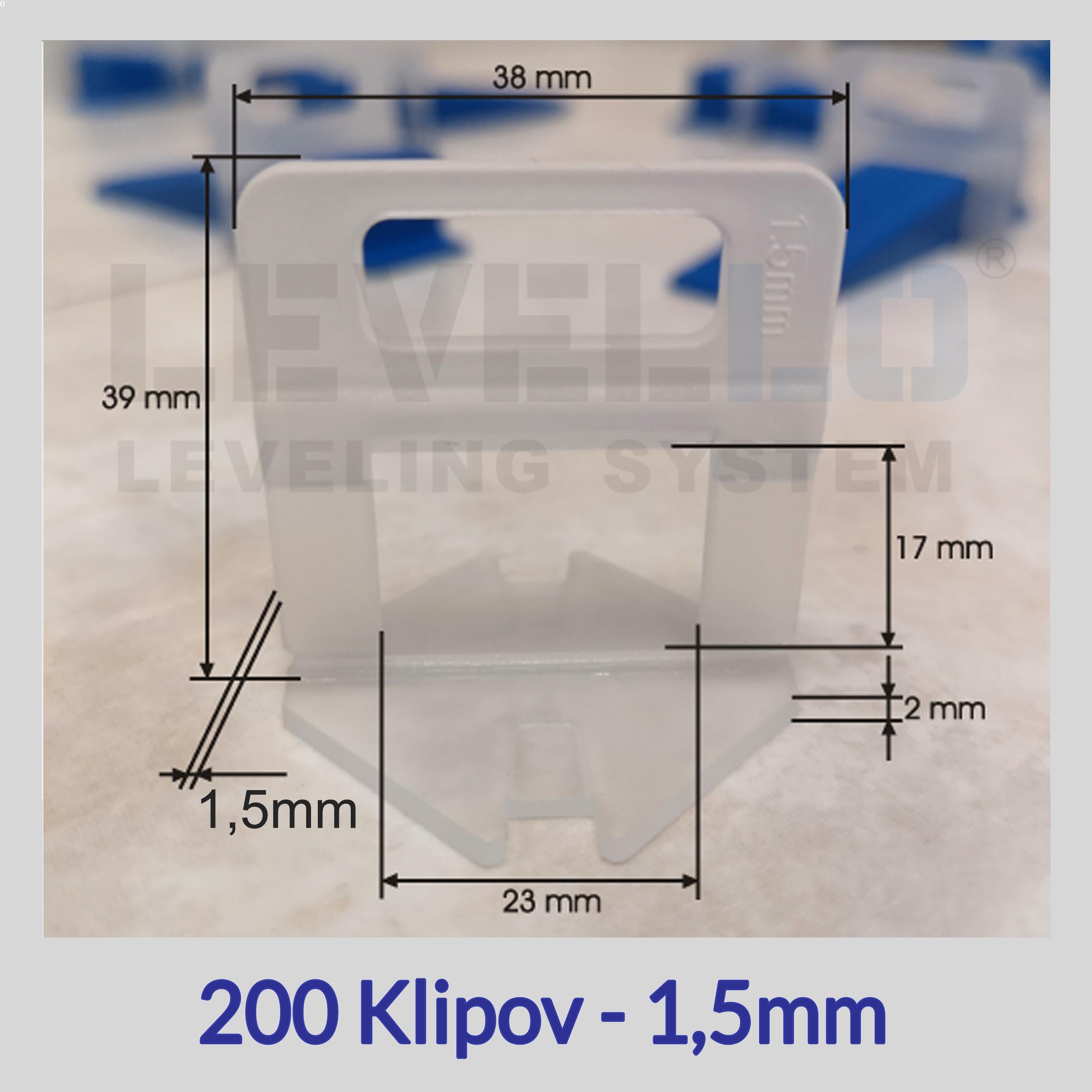 Klipy Eko LEVELLO ® 1,5 mm, 200 kusov